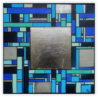 acryl op canvas met bladzilver