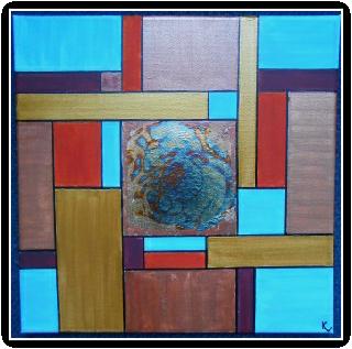 acryl op canvas met geoxideerd bladgoud