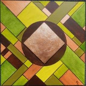 acryl op canvas met bladgoud