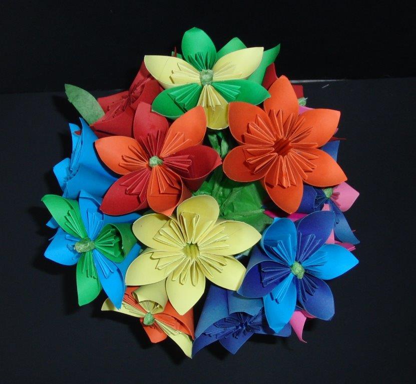 origami boeket gevouwen