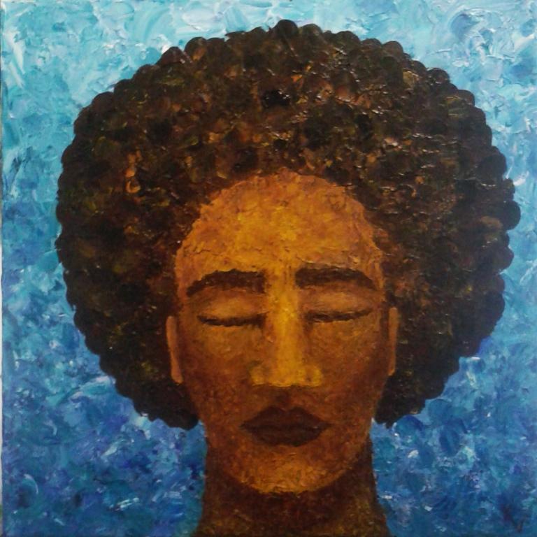 alleen palletmes met acryl op canvas 60x60