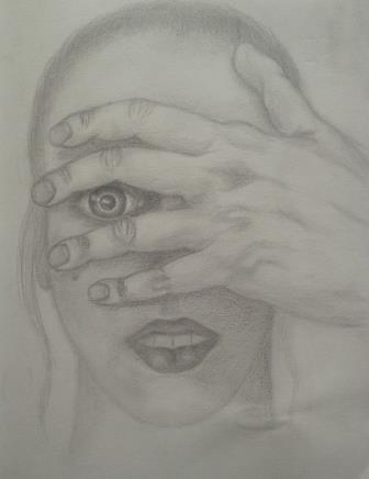 potlood op papier zelfportret 22x28