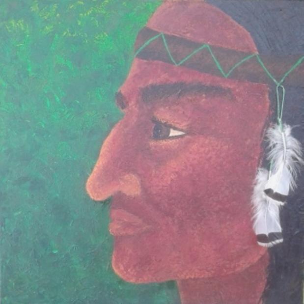 acryl op canvas met touw en veren 60x60