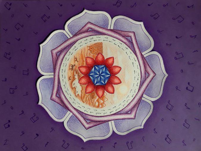 geboortemandala, potlood op papier 30x40