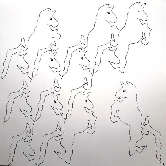 unicorn tesselation, pen op papier 40x40